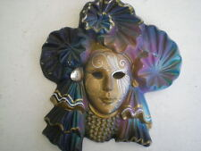 SUPERBE MASQUE DE VENISE EN CERAMIQUE DORURE BRILLANT DECORATION PIERRE