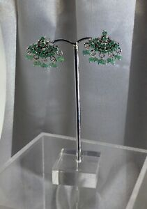 Emerald Earrings Sterling, Val $350+. NEW,Handmade.