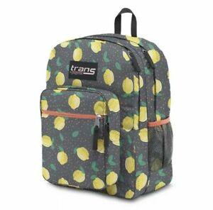 "Trans by JanSport 17"" Supermax Backpack - Lovely Lemons w/ 15"" Laptop Sleeve NEW"