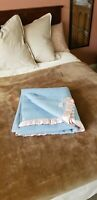 Vintage 100% Wool Blue Chatham Blanket 68x75 good CONDITION
