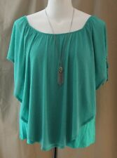 Alyx Woman, 2X, Fiesta Green Poncho Top/ Necklace, New with Tags