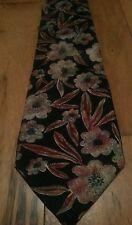 Christian Dior Men's Neck Tie Black Flower Pattern All Silk Made in USA Monsieur