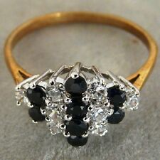 ** NEW ** 9ct Gold Sapphire and Cubic Zirconia (CZ) Cluster Ring Size P1/2 7.75