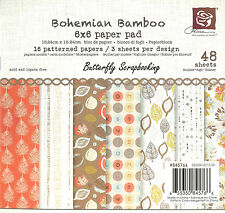 """Prima  Item# 845766   /""""Bohemian Bamboo/""""   6/""""x6/"""" Paper Stack  48 Sheets  NEW"""