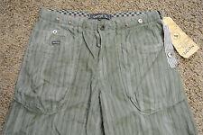 UNION Designer Board Shorts 32 NWT$129 HIGH END! Army Green&Navy Cotton! Stripes
