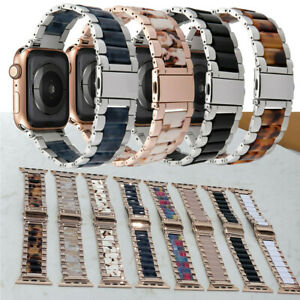 Stainless Steel Band with Resin Design Straps for Apple Watch Series 6 5 4 3 2 1