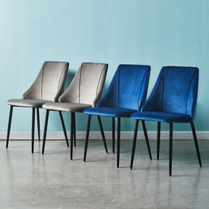 Pair of Velvet Dining Chairs Kitchen Dining room Restaurant Chair Grey/ Blue