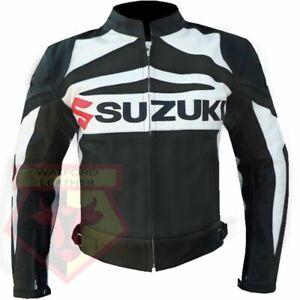 SUZUKI GSX BLACK MOTORBIKE MOTORCYCLE COWHIDE LEATHER ARMOURED JACKET. SIZE: 4XL