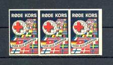 NORWAY 3 x POSTER STAMP - RED CROSS -IMPERF -** MNH VF