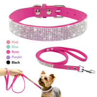 Bling Rhinestone Suede Dog Collar&Leash Diamante for Chihuahua Yorkie Schnauzer