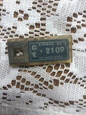 1951 Kansas DAV License Plate Key Fob GE-2109 The Wheat State/Blue/Silver