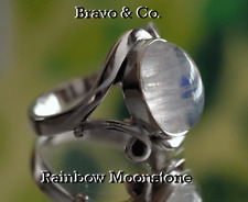 SIZE 12 GENUINE Solid Sterling Silver NEW Rainbow Moonstone Women Ring ST-172