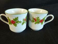 "Schmidt Brasil  2 Demitasse Cups   Holly & Berries Porcelana  2 7/8"""