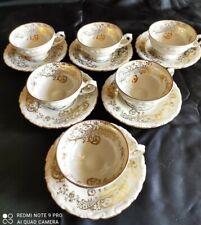 Servizio antico 6 tazzine da caffè bavaria decori oro zecchino anni 1950