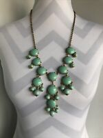 Aqua Beaded Chandelier Dangle Bib Faux Turquoise Statement Necklace 24-28 Inch