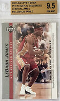 2003-04 LeBron James UD PHENOMENAL BEGINNING ROOKIE RC #8 BGS 9.5 w/ 10 sub PSA