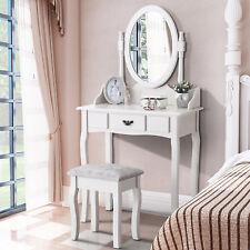 Vanity Makeup Jewelry Drawer White Dressing Table Stool Set Bedroom Dresser
