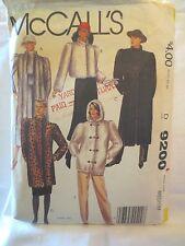 """McCalls 9200 Vtg 1984 pattern Faux fur Jacket Coat SZ 14-16 Bust 36 - 38"""""""
