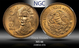 1988-Mo MEXICO 20 PESOS NGC MS66 FINEST KNOWN