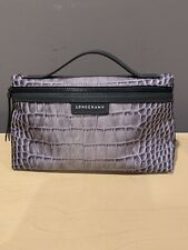 New Longchamp Limited Edition Gray Python Toiletry Bag Cosmetic Tote Snake Purse