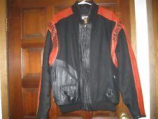 Harley-Davidson Black/Burnt Orange Leather & Wool Varsity Style Jacket LARGE