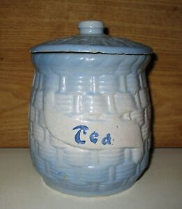 ANTIQUE MCCOY BLUE WHITE BASKET WEAVE MORNING GLORY TEA CANISTER & LID