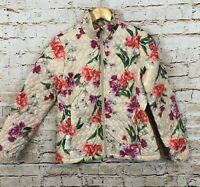 Lands End Floral Quilted Jacket womens XS new Primaloft Packable pouch Zip up D2