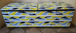 Fab Vintage Retro Kraft Ottoman Blanket Box Toy Box Casters Yellow White Terry