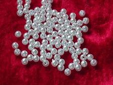 200 Acryl Perlen weiß 4 mm Spacer Beads Kugeln