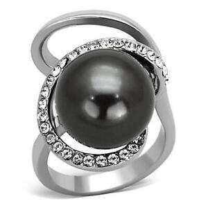 Ladies pearl ring grey cocktail stainless steel silver cz statement orbit 1218