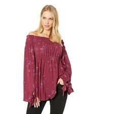 NEW $98 Free People Bonjour Off Shoulder Top Burgundy Floral Size Small Stretch