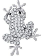 "Tree Frog Pendant Necklace 925 Sterling Silver Cubic Zirconia 18"" Chain"