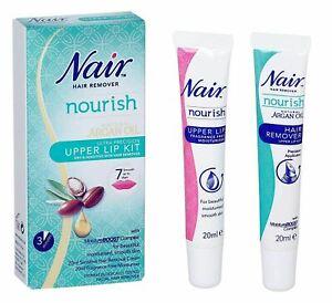 Set Of 2 Nair Gentle Facial Hair Remover Natural Argan Oil Upper Lip Kit 20ml