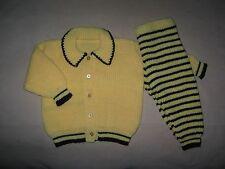 Handmade Infant Baby Girl Sweater Cardigan & Pants Set Yellow Dark Brown, 12M