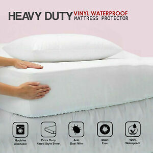 Waterproof Mattress Protector Vinyl Fitted Sheet Deep Bed Cover All Sizes