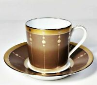 Haviland Limoges Tambour Bronze Demitasse Cup & Saucer Set