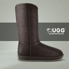 Ugg Boots Sheepskin Tall Classic Pull On Black Brown Ladies Men Size EU 35-44
