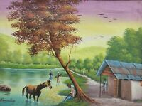 Rare Original Rony Millien Tranquillity in the Countryside Haitian Art Painting