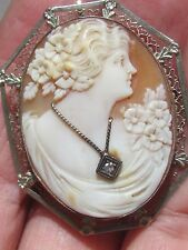Antique 14k white Filigree Gold carved Shell Cameo DIAMOND brooch pendant