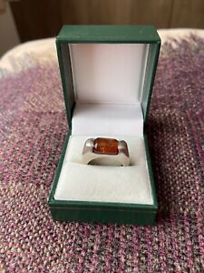 925 Solid Silver Amber Ring Size P