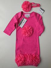 'Oh Baby Couture' girl fuchsia layette gown + headband size 000 Fits 3 mths NEW