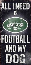 """New York Jets Wood Sign - Football and Dog 6""""x12"""