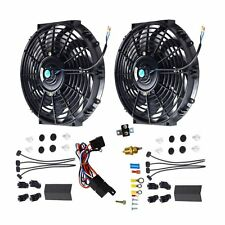 "BK 2X 12""ELECTRIC COOLING FAN 12 VOLT PUSH-IN RADIATOR FIN PROBE&THERMOSTAT KIT"