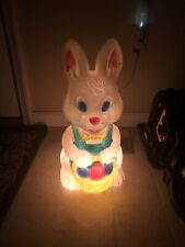 Vintage Easter Bunny Rabbit Lighted Blow Mold Eggs Basket 19� Yard Outdoor