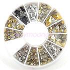 Wheel Mixed Nail Art Tips Glitters Rhinestones /Rivets Slice Decoration Manicure