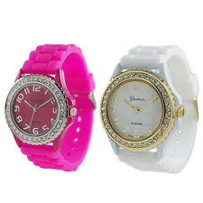 Watches Women Fashion Luxury Silicone Gel Ceramic Style Band Crystal Bezel Lots
