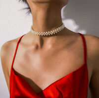 Multi Layer Round Pearl Choker Pendants Collar Clavicle Necklace Women Jewelry