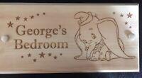 Personalised Kids Door Sign , Plaque,engraved, Nursery,Name, Unicorn, Dumbo, Lol