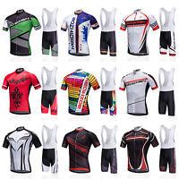 Men's Cycling Bib Kits Bike Bicycle Short Sleeve Jersey and Bib Shorts Set S-5XL