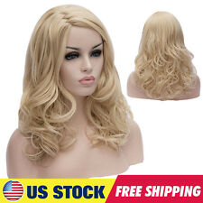 Women Light Gold Daily Full Wigs Short Wave Curly Hairstyle Blonde Anime Party